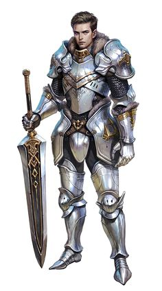 Male Human Fighter Knight in Plate Armor - Pathfinder PFRPG DND D&D 3.5 5th ed d20 fantasy