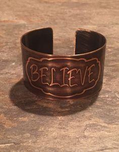 Believe Etched Copper Cuff Religious Jewelry by GlassArtByAshley