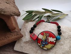 Painted Set Necklace Bracelet Earrings inspired by Ancient Greek Minoan Art. Boho Blue Red Brown Jewelry Set Gift with Semi-Precious stone. Jewelry Art, Jewelry Gifts, Minoan Art, Greek Art, Wooden Earrings, Business Gifts, Paint Set, Short Necklace, Necklace Sizes