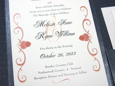 Fall Wedding Invitation Pocketfold Classic by essentialimages, $5.15