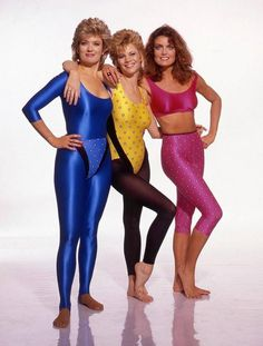 Tracy Scoggins (Monica) with Mary Hart (blue) and Markie Post (yellow).