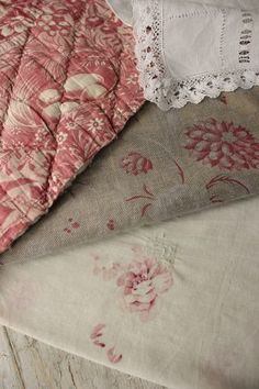 Lovely antique French fabrics for creative projects and design inspiration ~ ideal for clothing patches, pillows, small projects, lovely just used as a decorative touch to a shelf! ~ ideal for design inspiration ~ antique fabrics Project Bundle from France ~ ideal for timeworn , period interior, French country, beach interior etc ~ Charming for cottage interiors ~ www.textiletrunk.com