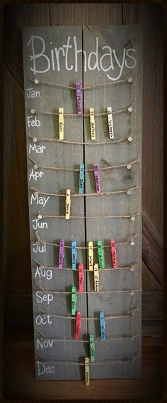 Birthday calendar board wall hanging with colored clothespins - Hand painted, NO. Hand Made , Birthday calendar board wall hanging with colored clothespins - Hand painted, NO. Birthday calendar board wall hanging with colored clothespins - Ha. Fun Diy Crafts, Home Crafts, Handmade Crafts, Vinyl Diy, Birthday Calendar Board, Wall Hanging Crafts, Diy Hanging, Ideias Diy, Classroom Decor