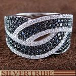 Genuine Sterling Silver White And Black Cubic Zirconia Ring