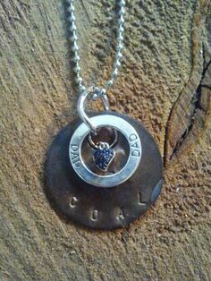 Handmade jewelry. Tool Tag Necklace from West Virginia Coal Jewelry. Find us on Facebook   -   West Virginia Coal Jewelry   by Carol Dameron www.wvcoaljewelry.com