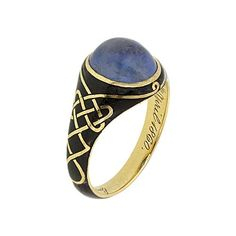 """antique Victorian mourning ring (18k yellow gold finished with black enameling) set with Montana cabochon cut sapphire - inscription inside reads """"Emma Mathilda Halford died 9th April 1860"""""""