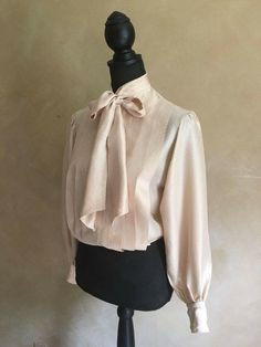 Vintage 80's Silk Pussy Bow Tie Blouse - Gold Color by LucaAndLuna on Etsy
