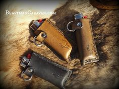 Handtooled Leather Lighter Case with D ring for by BeastmanCaravan