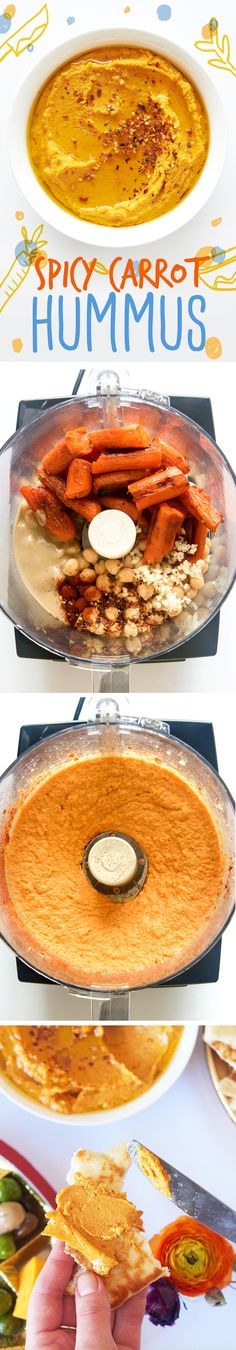 Combine 1 can of drained chickpeas with 1 pound of roasted carrots, 1/4 cup tahini, 2 Tbsp. grated fresh lemon juice, 2 Tbsp. of olive oil, 1 Tbsp. crushed red chili flakes, 1 tsp paprika, salt, and pepper in a food processor. Process with 1/4 cup of water until it has a smooth, creamy texture, adding more water as needed. Serve with lots of olive oil, cracked pepper, and more chili flakes over the top.