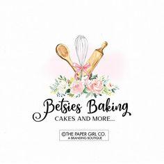bakery logo baking logo cake logo whisk logo rolling pin logo premade logo home baking logo pre made logo bakers logo Baking Logo Design, Cake Logo Design, Custom Logo Design, Logo Cupcake, Brand Identity Design, Branding Design, Logo Branding, Corporate Branding, Typography Logo
