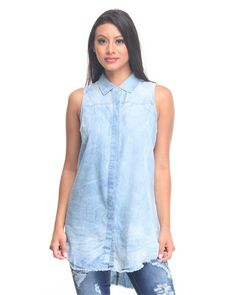 Cotton Express - Sleeveless Denim Shirt