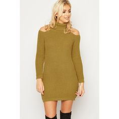 WearAll Cold Shoulder Cable Knit Jumper Dress (£25) ❤ liked on Polyvore featuring dresses, mustard, mustard turtleneck, cutout dresses, long sleeve turtleneck dress, long-sleeve turtleneck dresses and brown dresses
