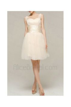Satin Straps Short Corset Evening Dress with Beading - Alice Bridal