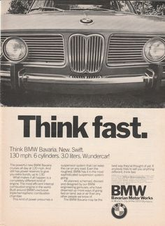 1969-1975 BMW Bavaria - Think fast! vintage ad