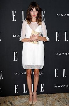 Alexa-Chung   /Carven 2013 resort collection dress  /Charlotte Olympia clutch bag  /Mary Jane nude color shoes