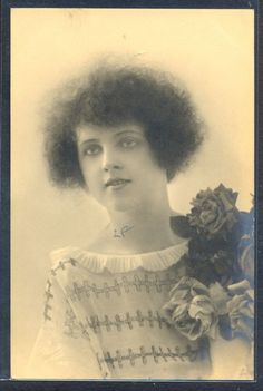 QS036 ART DECO FASHION FLAPPER LADY HAIRSTYLE KITSCH Tinted PHOTO pc