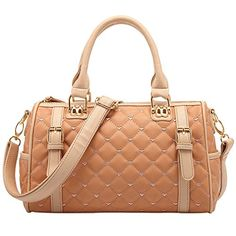 5d155f3ab25e FASH Limited Diamond Quilted Duffle Style Handbag Buckle Accent PU Leather  Handbag Beige -- For