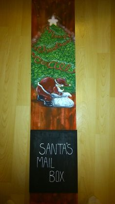 Santa's Mail Box by marymakeskeepsakes on Etsy Santa Mail, Caricatures, Mailbox, Paintings, Unique Jewelry, Handmade Gifts, Holiday, Artwork, Pictures