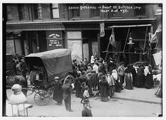 Crowd gathered in front of butcher shop during meat riot, New York. Bain News Service, publisher. 4/9/10 (date created or published later by Bain). LC-DIG-ggbain-04610 (digital file from original neg.).