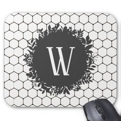 Black and White Beehive Pattern with Monogram Mouse Pad - black gifts unique cool diy customize personalize