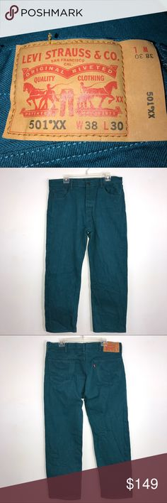 """Levi Vintage 501 Red Line Teal Jeans Size 38X30 Levi vintage 80's, 501 red line, teal colored, jeans. Lying flat, approximate measurements are: waist 19""""; hip 22""""; front rise 12""""; rear rise 16""""; inseam 28""""; length 29"""". (K01-16)    🌼No holes, piling or stains. Items stored in smoke free, pet free, perfume free environment. No trades or modeling. Same or next day shipping.  Save by bundling. All offers should be submitted with the offer button. Levi's Jeans Straight Leg"""