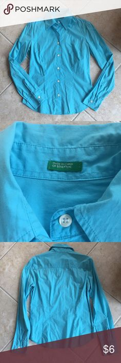 Benetton dress shirt Robins egg blue button down dress shirt from Benetton. Looks great under a suit or cardigan for work! United Colors Of Benetton Tops Button Down Shirts