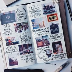 Travel journal ideas and techniques. Inspiration for keeping a scrapbook, art journal, or sketchbook while on the road Wreck This Journal, My Journal, Journal Pages, Journal Ideas, Creative Journal, Journal Layout, Moleskine, Filofax, Ideias Diy