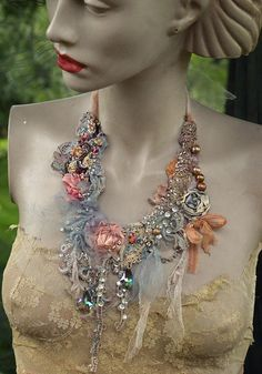 Principessa necklace, delicate  shabby chic embroidered  statement necklace