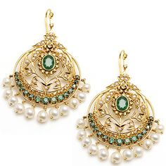 Saara Earrings - 14k Gold, Diamond, Emerald and fresh water pearl earrings