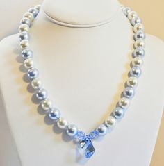 Pearl Necklace Blue Handmade Jewelry in Silver by beaddesignsbyk, $49.00