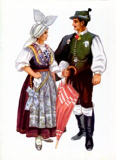Slovenia Ethnic Dress Print Slovene National Costume Gorenjska Kirin Vintage 2 | eBay