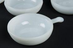 VINTAGE GLASBAKE MILK GLASS LUG INHANDLE SOUP OR CERAL BOWLS. NUMBER J2663