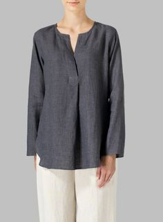 Leinen L / S Relaxed Fit Bluse - blouse Womens Linen Clothing, Sewing Clothes Women, Clothes For Women, Miss Me Outfits, Sewing Blouses, Linen Blouse, Linen Tunic, Linen Dress Pattern, Brunch Outfit