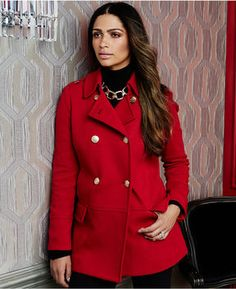 INC Double-Breasted Pea Coat #RED