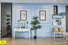 With a renewed focus on rest and wellness, it makes sense that powder blue is go-to hue. With this soft shade on the wall, daily routines will feel less stressful and more enjoyable. Daily Routines, Dining Area, Decorative Items, Hue, Creative Ideas, Terrace, Powder, Gallery Wall, Advertising