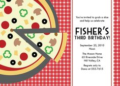 pizza party invitation pizza birthday party cooking eco friendly