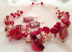 Red and Copper Beaded Wire Crochet Necklace and Earrings by LLColemanJewelry on Etsy