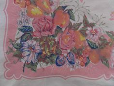 Shabby Cottage Chic Vintage Pretty in Pink Floral Fruit Cotton Tablecloth | eBay