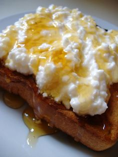 Cottage honey toast. Make toast, spread with cottage cheese. Drizzle on the honey. YUM good for breakfast or as a treat.