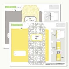 Printable Eid Money Envelope (Yellow + Grey)