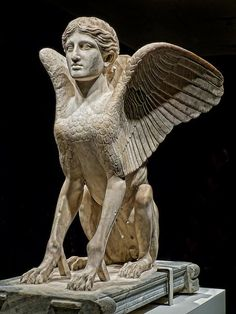 """Sphinx probably a table support Roman 120-140 CE from Monte Cagnolo outside Lanuvium near Rome,  Italy Piece exhibited as part of """"The Body Beautiful in Ancient Greece"""" assembled by The British Museum and Photographed at the Portland Art Museum in Portland, Oregon."""