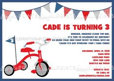 Tricycle birthday party invite - change into Trike-A-Thon flyer