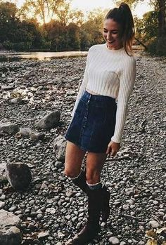 25 Fall Outfits with Skirts to Inspire Your Fall Look, Winter Outfits, Winter Outfits For Teen Girls, Cute Winter Outfits, Summer Outfits, Casual Outfits, Autumn Outfits, Autumn Clothes, Casual Clothes, Dress Casual, Winter Dresses