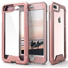 Zizo ION Series iPhone 8 Plus Case / iPhone 7 Plus Case - Military Grade Drop Tested with Tempered Glass Screen Protector (Rose Gold/Clear)