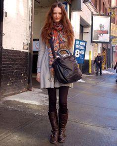 grey coat, bold scarf