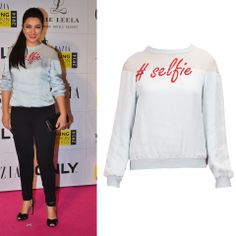 GET THIS LOOK: Tisca Chopra looks chic in this quirky powder blue satin selfie sweatshirt by Huemn by Pranav Mishra and Shyma Shetty. Shop the designers now at: http://www.perniaspopupshop.com/designers-1/huemn #perniaspopupshop #huemn #tiscachopra #sporty #chic #selfie #quirky #fun #amazing #musthave #happyshopping