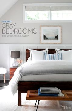 The best decorating inspiration for gray bedrooms from Better Homes and Gardens.