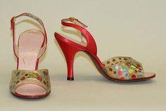 Sandals Designer: Mr. David Evins (American, born England, 1909–1992) Date: 1953 Culture: American Medium: silk, plastic, leather, wood Dimensions: Heel to Toe: 8 3/4 in. (22.2 cm) Credit Line: Gift of David Evins, 1960