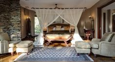Tintswalo Safari Lodge features only  6 spacious & luxurious suites all with private decks and plunge pool are authentically decorated to recall the pioneering times of the nineteenth century African explorer. A massive emphasis is placed on sublime service coupled with outstanding dining, offering an experience to savour forever. Located in the Mpumalanga Province of South Africa on the private Manyeleti Reserve