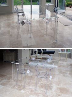 Acrylic furniture is famed for how well it keeps spaces looking bright and open. These dining sets take up no visual space at all.